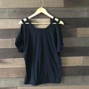 Fabletics Black Strappy Cold Shoulder Shirt